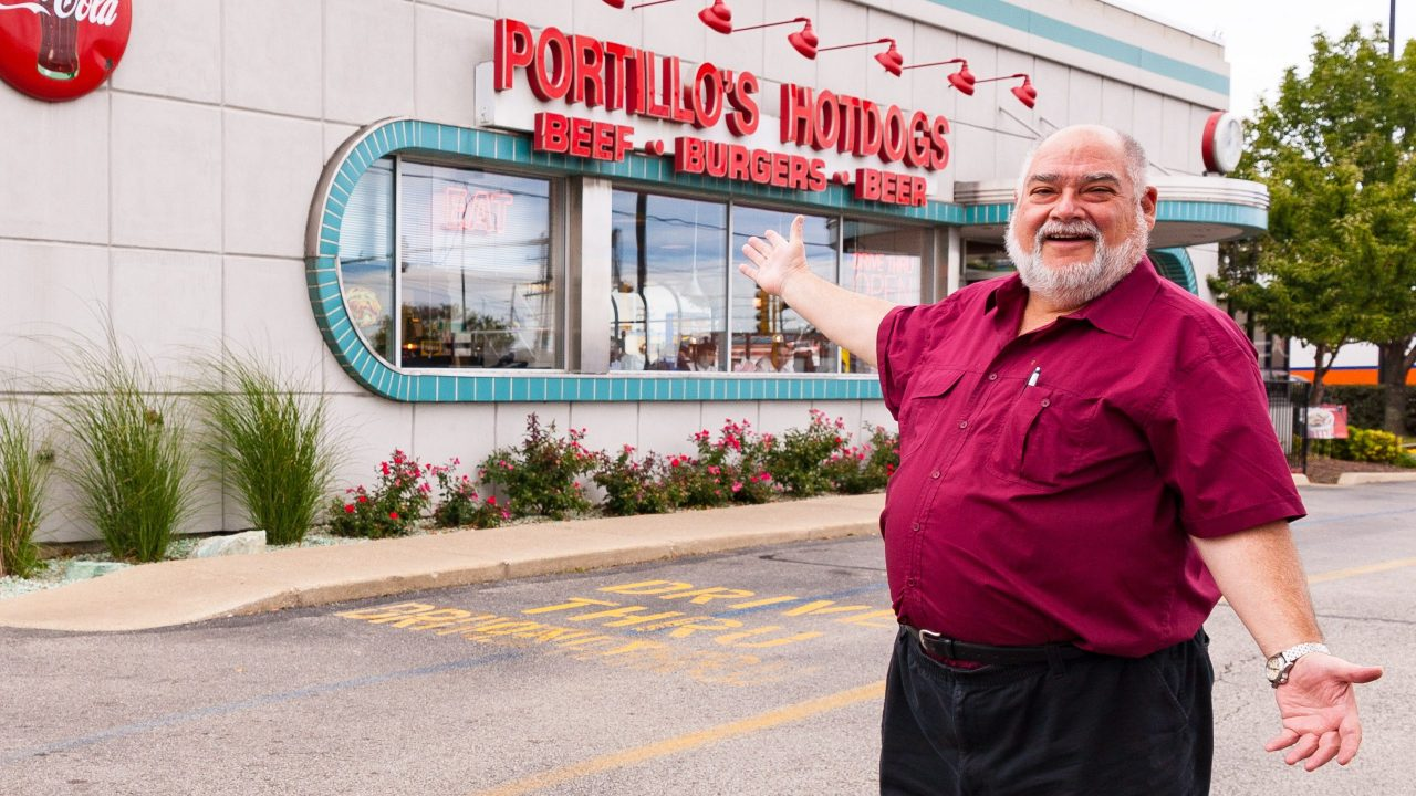 Dave Metz in front of one of his favorite places to eat... Portillo's in Chicato