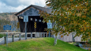 Historic Downsville covered bridge in western New York