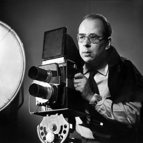 Philippe Halsman behind the twin-lens camera he designed for making portraits.