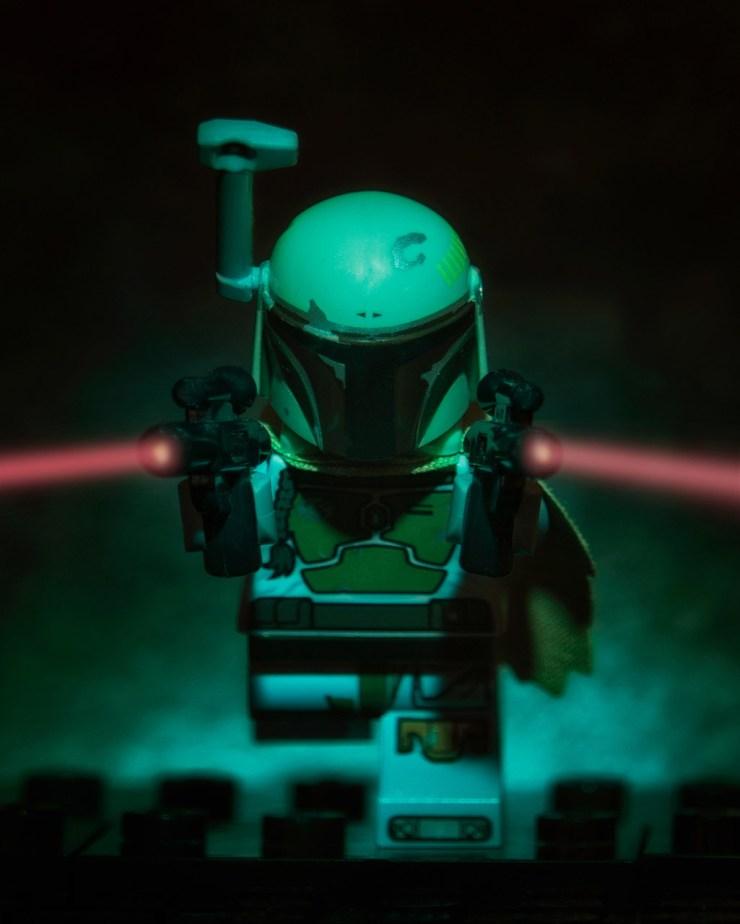 Lego Minifigure Boba Fett charging with weapons blazing!