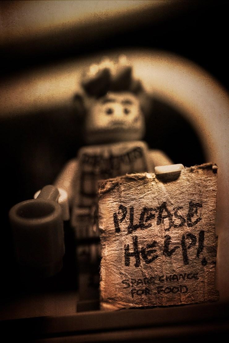 A tough times toy panhandling.