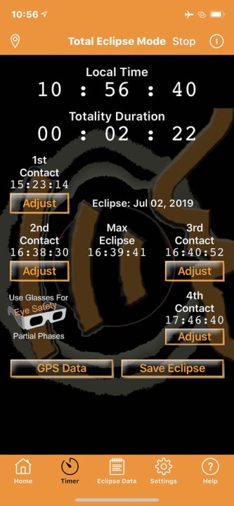 Solar Eclipse Timer app for Iphone