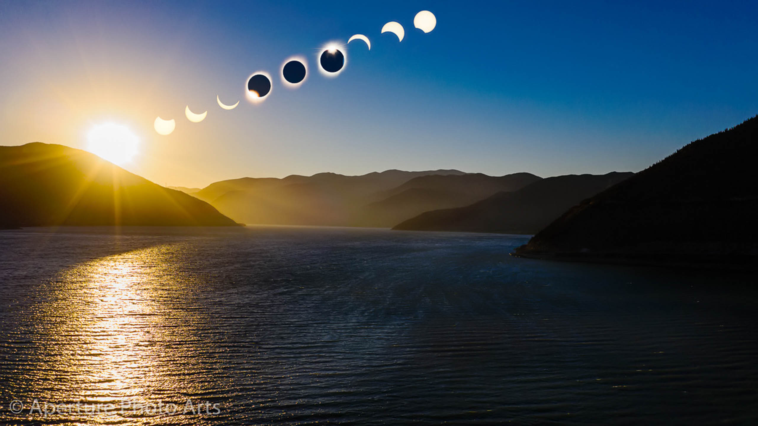 Composite of total solar eclipse of July 2, 2019 passing over Puclaro in the Elqui Valley of Chile
