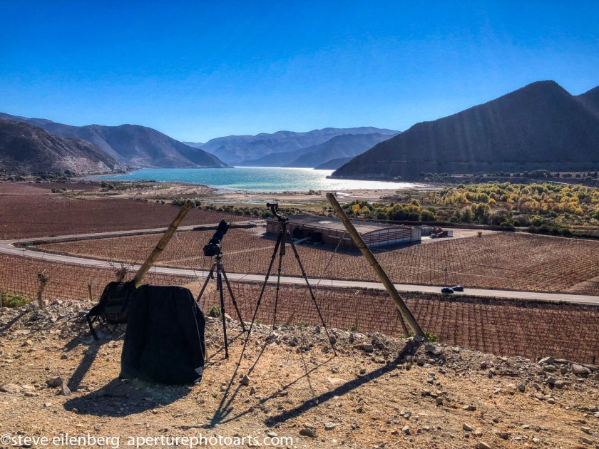 Set-up for shooting the total solar eclipse of July 2, 2019 overlooking Viña Falernia and Lake Puclaro in the Elqui Valley of Chile