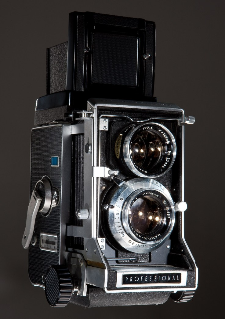 "Kevin's first ""professional"" camera, a Mamiya C-33 twin lens reflex interchangeable lens camera."