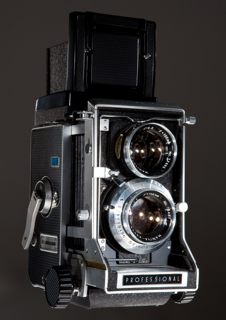 """Kevin's first """"professional"""" camera, a Mamiya C-33 twin lens reflex interchangeable lens camera."""
