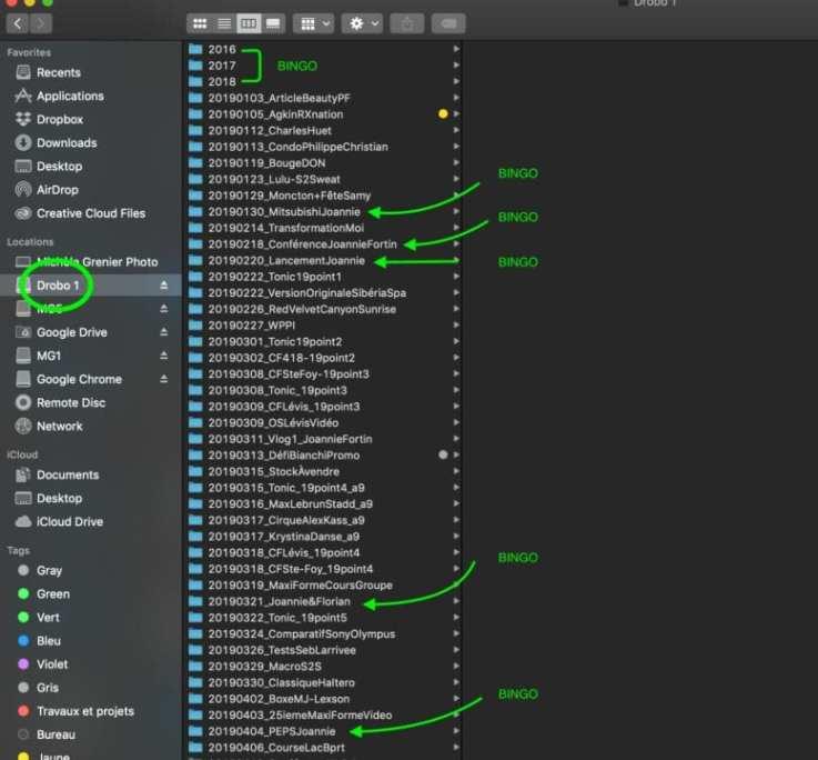 Sorted data Drobo workspace