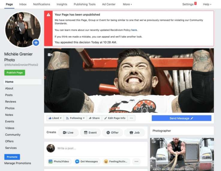 Facebook page has been unpublished