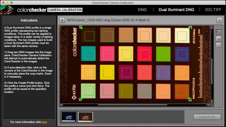 Making a dual illuminate digital camera profile with the ColorChecker Camera Calibration software