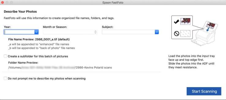The start scanning screen in Epson FastFoto software