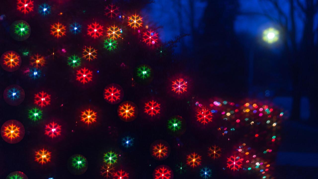 snowflake lights bokeh