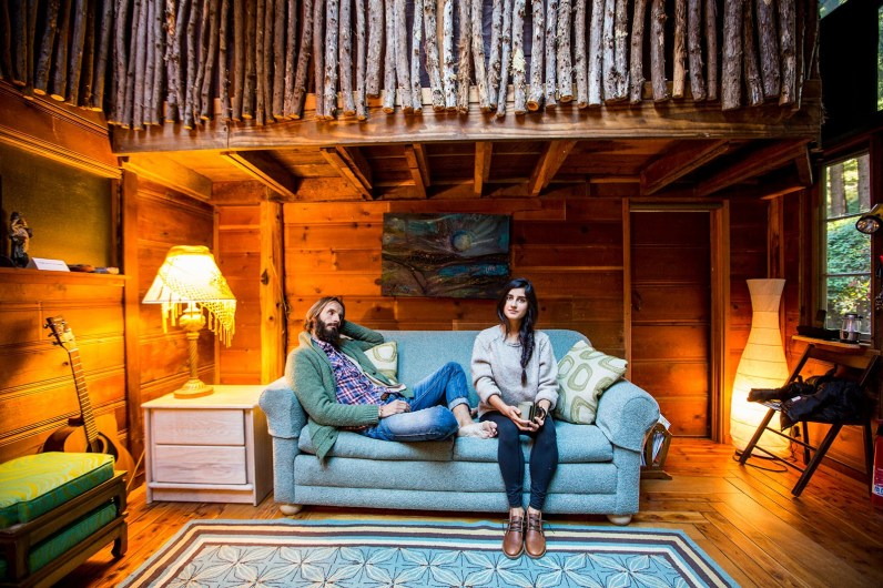 Couple portrait in cabin