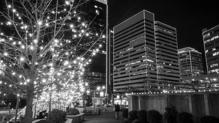 A scene on the street filled with holiday lights in a quiet downtown frame a lone figure. Photographer of the Day honors go to Frank Bitetto.