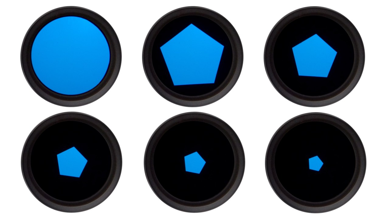 Examples of aperture sizes in a lens from maximum to minimum in one stop steps.