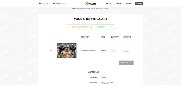 Ordering the print of your photo on Xpozer