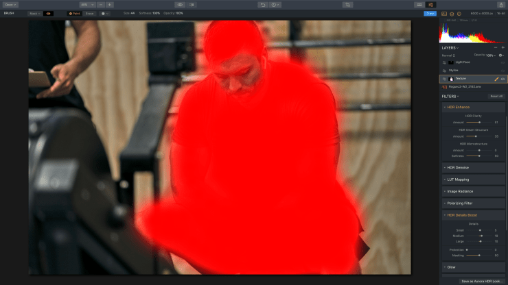 Painted texture layer mask