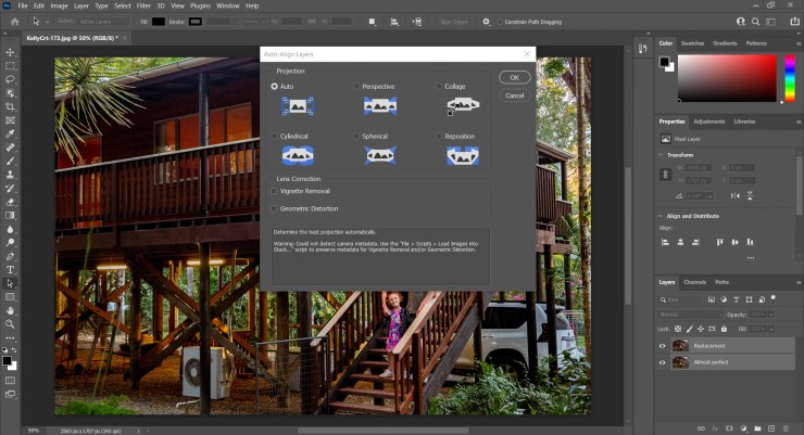 Screenshot Photoshop auto-align options