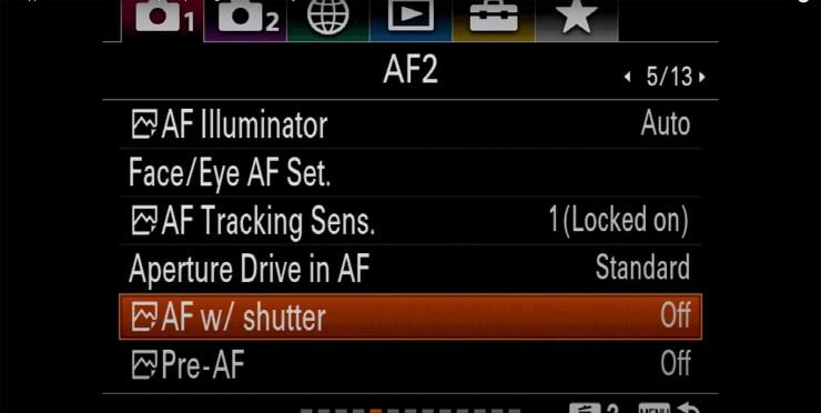 Sony autofocus AF shutter