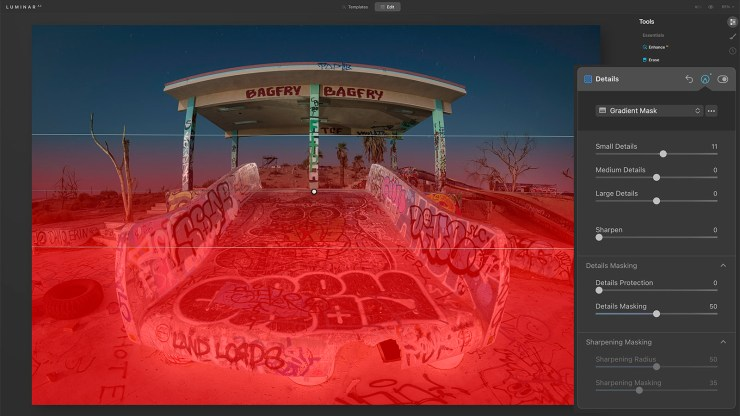 Applying a Gradient Mask to the bottom half of the image in Luminar AI.
