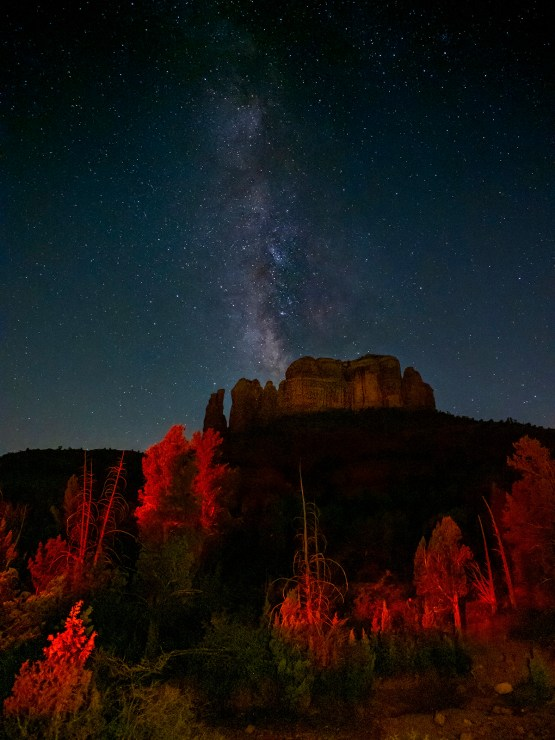 milky way galactic core over red rocks photo