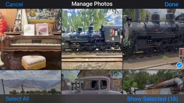 Selecting specific videos and/or photos in the Manage Photos section of your Memories video.