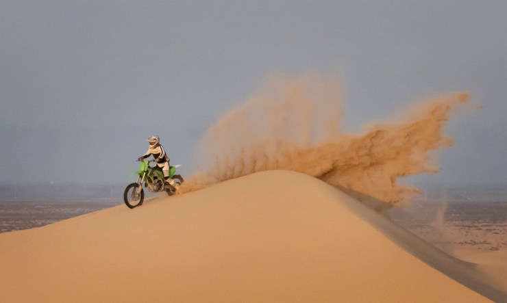dirt bike in the sand dunes