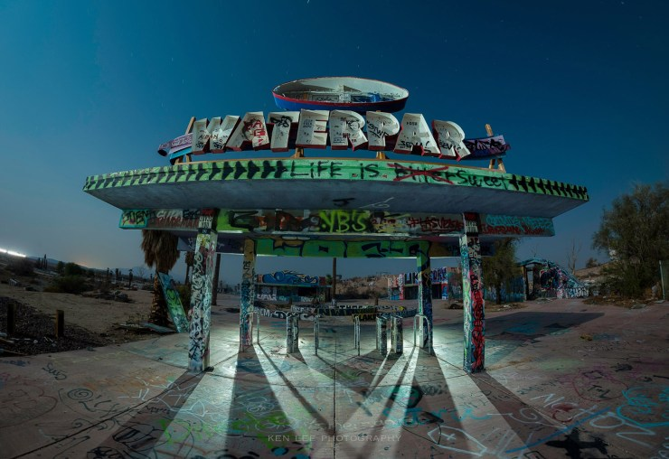 """he entrance to the waterpark, with the letter """"k"""" missing for quite some time. I lit this with a handheld ProtoMachines LED2 light during the exposure."""