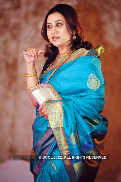 Suchitra Bandekar Too Looked Elegant In A Blue Sari During