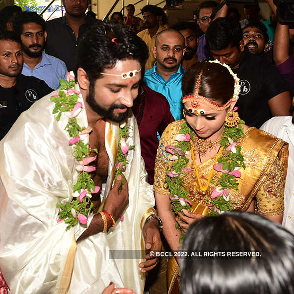 Newlyweds Malayalam Actress Bhavana And Kannada Producer Naveen Attend Their Lunch Reception
