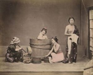 Felice BEATO Jeunes filles au bain - 1880