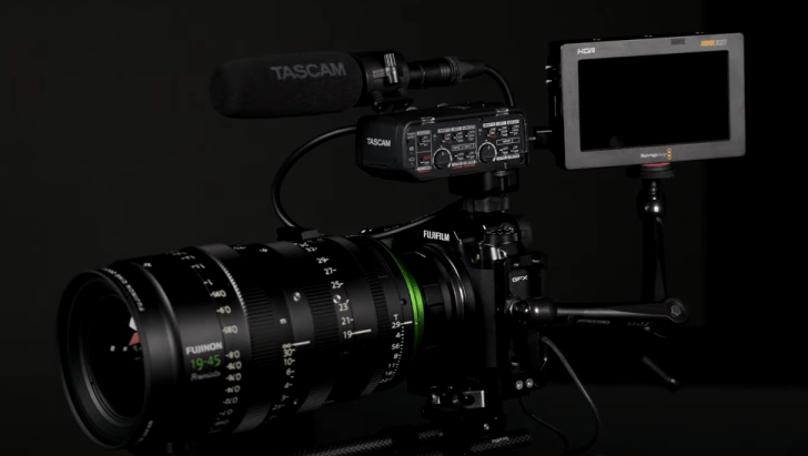 Fujiflm GFX camera with Blackmagic video assist for BRAW recording.