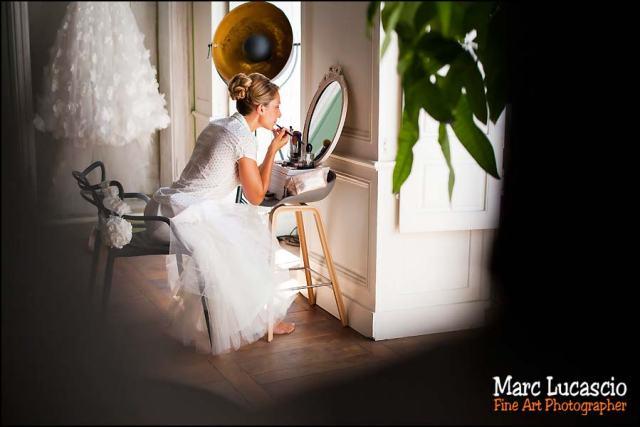 Mariée dans le miroir préparation