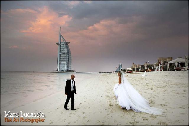 Dubaï photo plage coucher de soleil