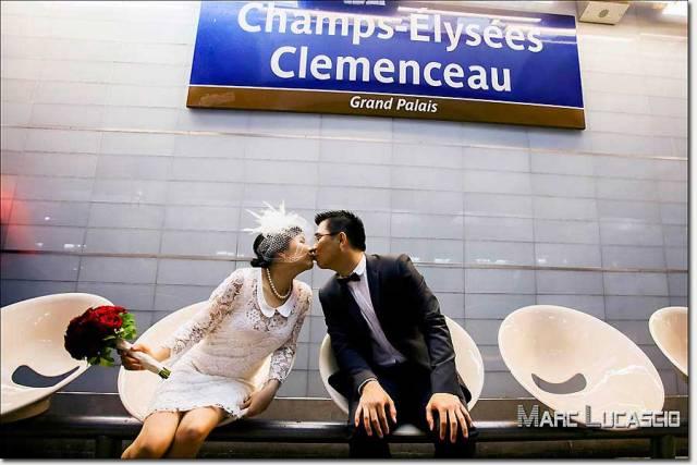 Champs Elysée Clemenceau séance photo couple