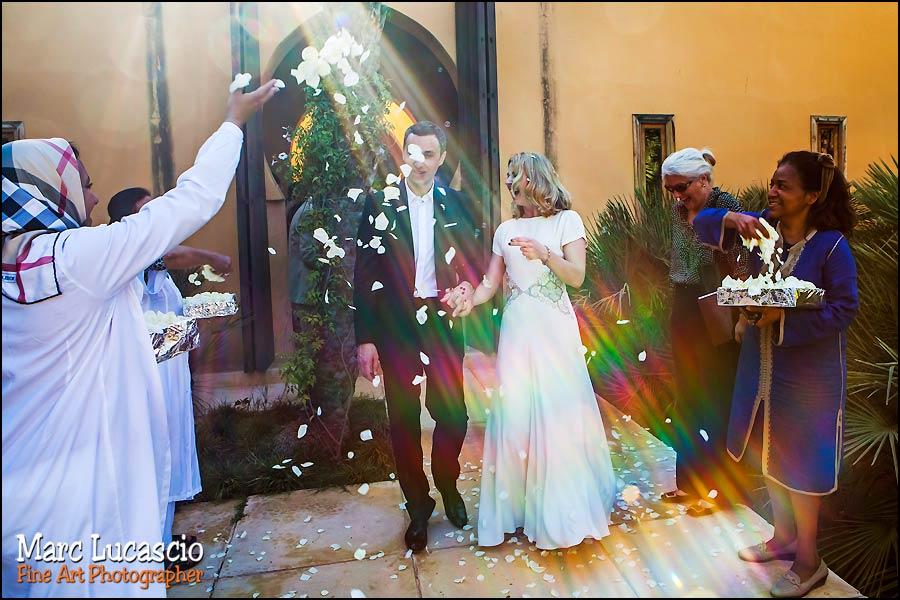Sortie des maries du mariage à marrakech