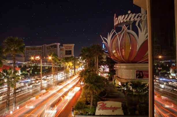 Photographers of Las Vegas - Architectural Photography - flamingo hotel long expourse with stars in the sky