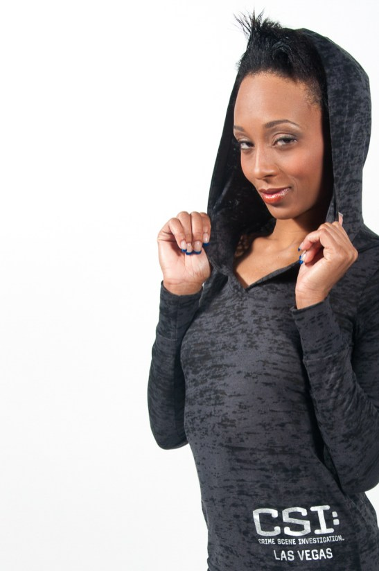 Photographers of Las Vegas - product photography - Hoodie/sweatshirt in studio with model