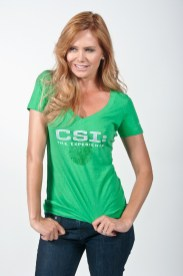 Photographers of Las Vegas - product photography - Green t-shirt in studio with model