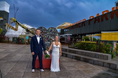 Photographers of Las Vegas - Vegas Strip Tour Photography - couple in front of heart lock at container park