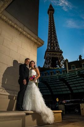 Photographers of Las Vegas - Wedding Photography - wedding couple at Eiffel tower at Paris hotel vegas