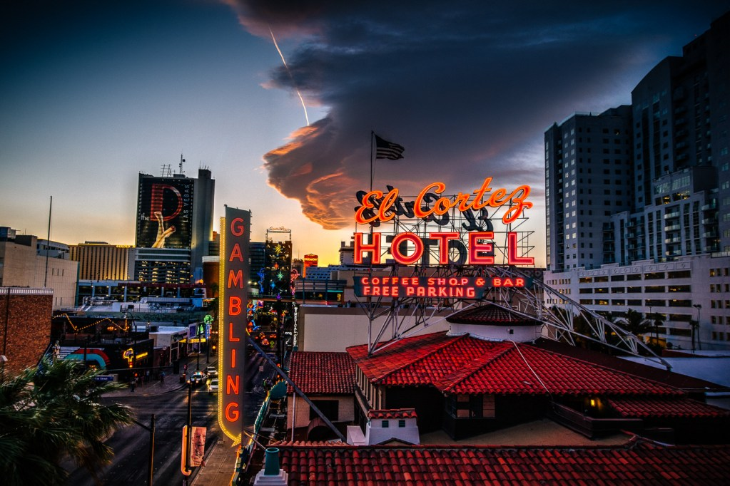 Photographers of Las Vegas - Architectural Photography - El Cortez vegas hotel at sunset