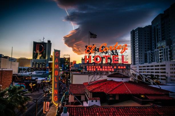 Photographers of Las Vegas - Architectural Photography - El Cortez vegas hotel at sunset