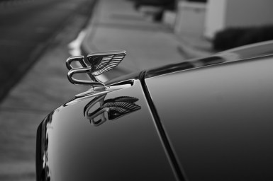 Photographers of Las Vegas - Car Photography - Bentley winged b on hood black and white