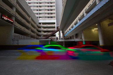 Photographers of Las Vegas - Concept Photography - tricolor cab on Vegas street