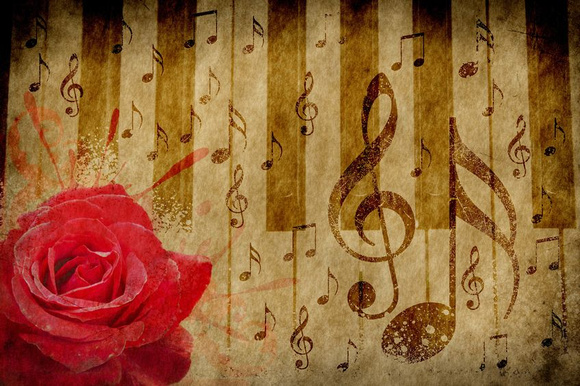 """Photographic Images by David: http://pleasure-house-for-adults.com &emdash; Rose, Piano, Music Notes"""" image which is the logo of Music-Videos-and-More.com"""