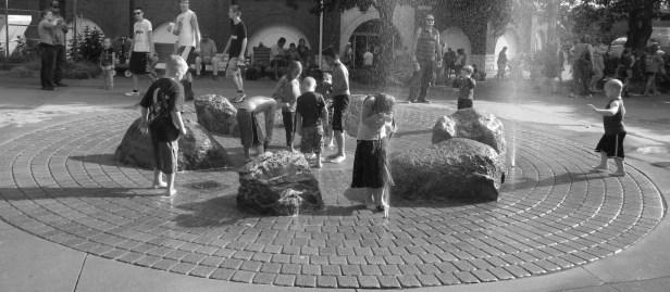 black and white fountain
