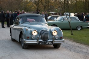 Bridge House Farm Tea Rooms Wray Nr Lancaster United Kingdom 20th April 2017. Classic Car aficionados are gathering in Wray Village every third Thursday through to October for a Classic Car Night at Bridge House Farm, Tea Rooms, here a Jaguar XK 150 is photographed leaving Bridge House Farm. The invitation has gone out from the organisers Classic Rebels to bring your Classic Car along for a friendly informal gathering