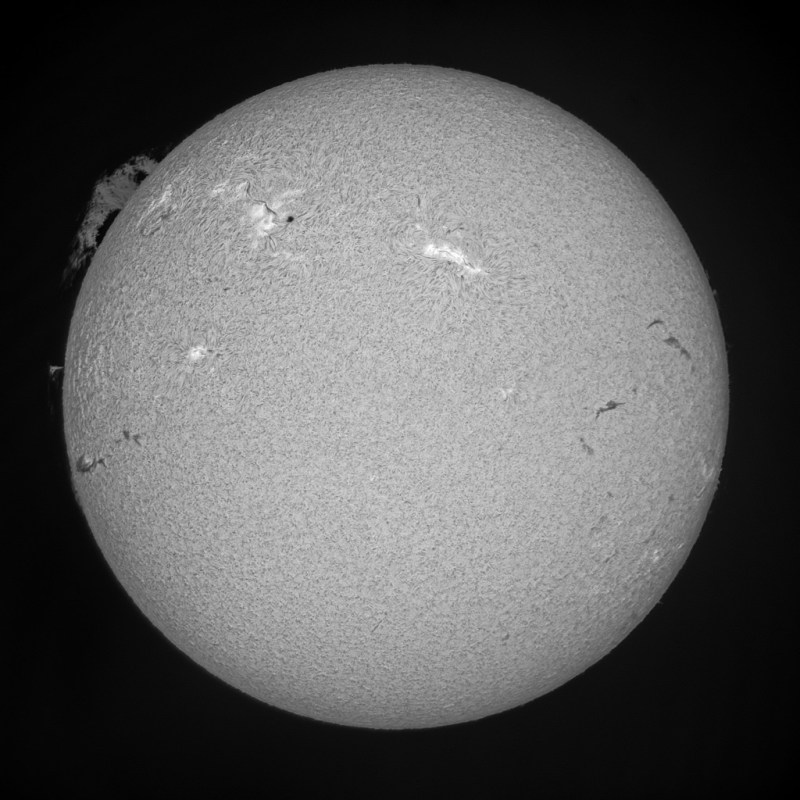 Final solar disk and prominence composite image, Paul Stewart