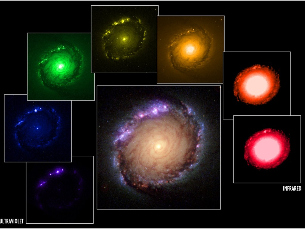 Panel of multi-wavelength and composite images of NGC 1512