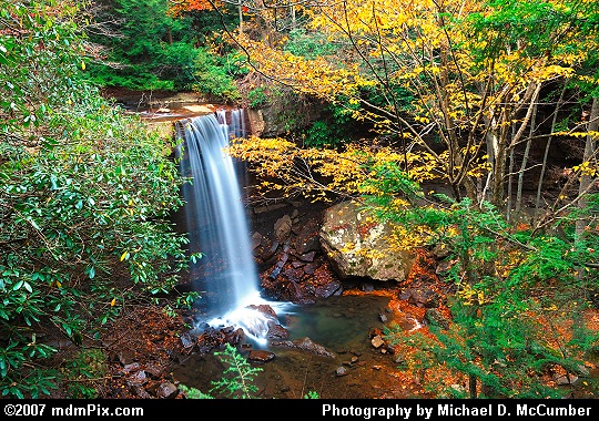 Cucumber Falls at Dusk with Autumn Color Picture